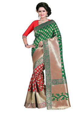 Green Banarasi Art Cotton Silk Saree With Blouse Piece