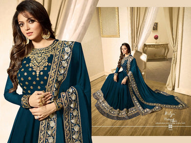 Dark Firozi Georgette Embroidered Semi Stitched Anarkali Salwar Suit With Dupatta