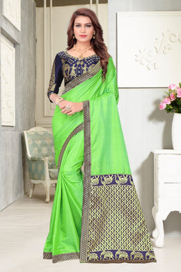 2192ae53a7bb4c Green Colour Awesome Attractive Hot Lattest Designer Sana Silk With Jeckard  Pallu Saree With Blouse