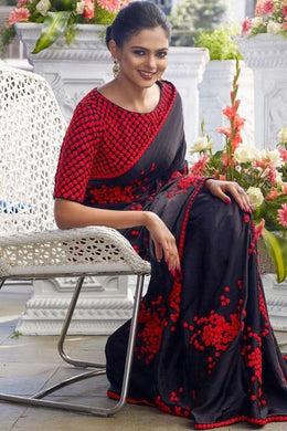 Black Colour Awesome Attractive Hot Lattest Designer Bollywood Look Silk Saree With Blouse
