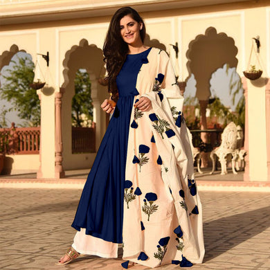 Navyblue Colour Awesome Indian Stylish Women Designer Party Salwar Suit Kameez Semi-stiched Dress Wi