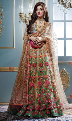 Biege Colour Awesome Trendy Designer Tissue Embroidered Lehenga Choli
