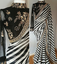 Multicolor Latest Zebra Georgette Saree Design Sequin Embroidery Silk Blouse