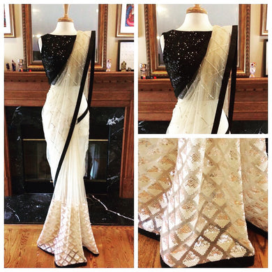 White Color Net With Sequence And Embroidery Work Saree With Black Less Border