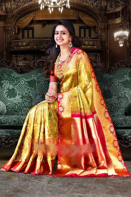 Awesome Origanl Multicolor Digital Printed Golden Zari Sillk Designer Saree With Blouse Saree
