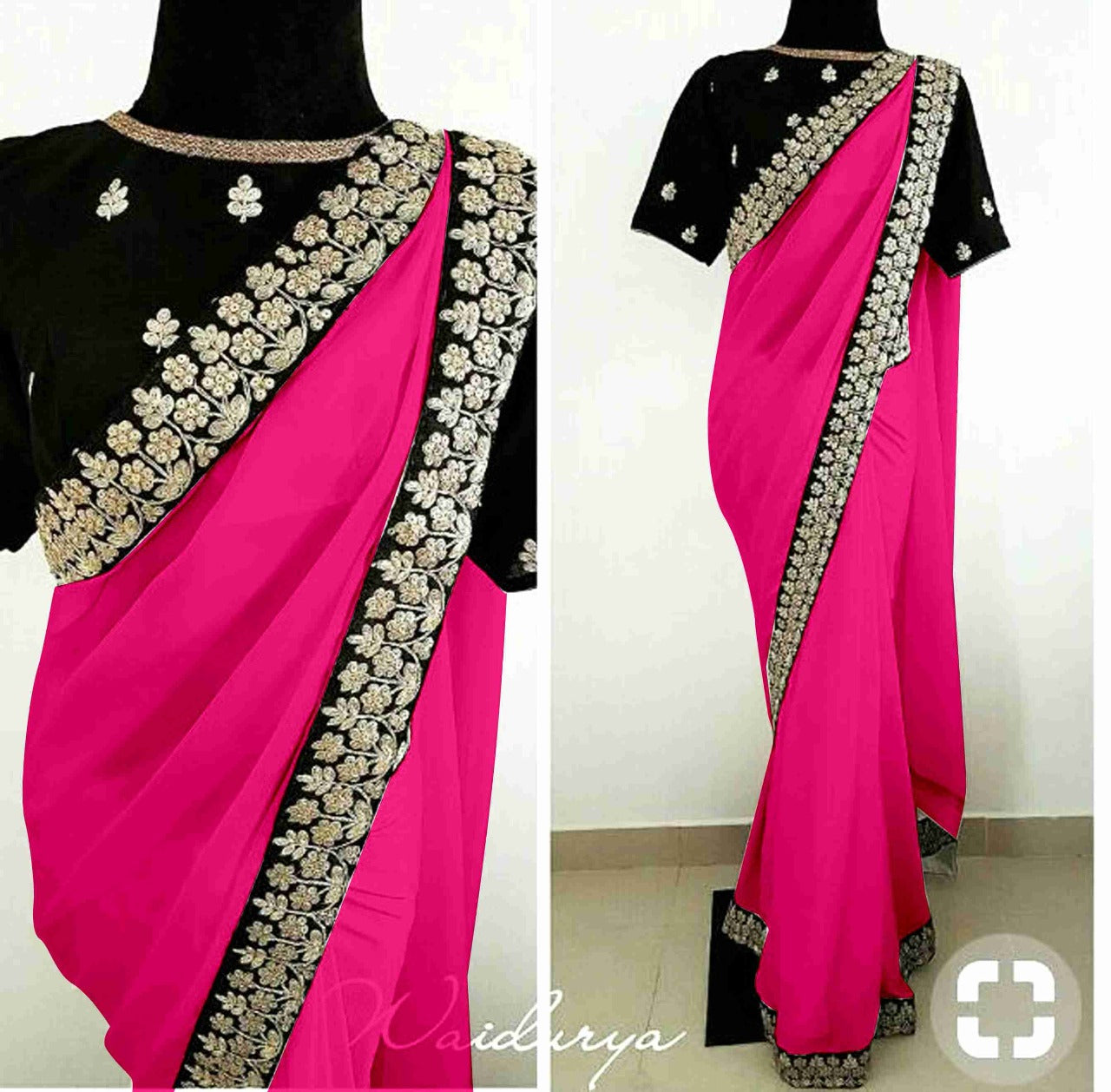 0275468947844d ... Designer Rani Georgette With Beautiful Border Embroidery Work Saree