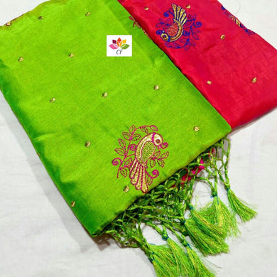 Awesome Designer Green Sana Silk With Embroidered Work With C-pallu And Tum Tum Lace Saree