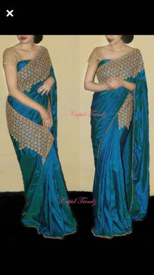 New Arrival Blue Embroidery Designer Saree With Blouse
