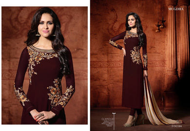 Maroon Colour New Arrivals Georgette Embroidered Work Salwar Suit