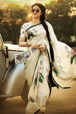 Designer White Zari Satin Digital Printed Saree