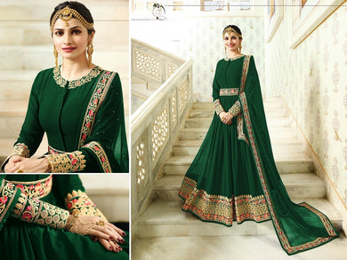 Elegant Green Georgette Embroidery Work Salwar Suit