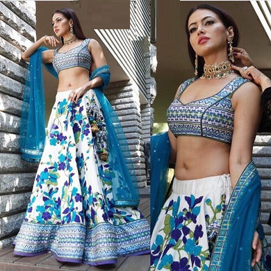 Attractive Multicolor Satin Silk Digital Printed Circular Lehenga Choli