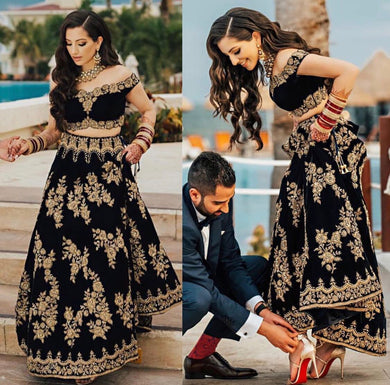 Stuning Black Taffeta Silk Bollywood Look Embroidery Work Circular Lehenga Choli