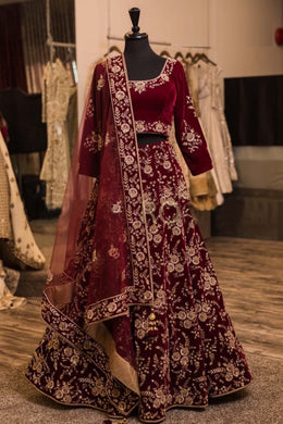 Attractive Maroon Taffeta Silk Embroidery Work Circular Lehenga Choli