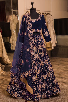 Attractive Blue Taffeta Silk Embroidery Work Circular Lehenga Choli