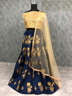 Designer Look Navy_blue Taffeta Silk Embroidery Work Circular Lehenga Choli
