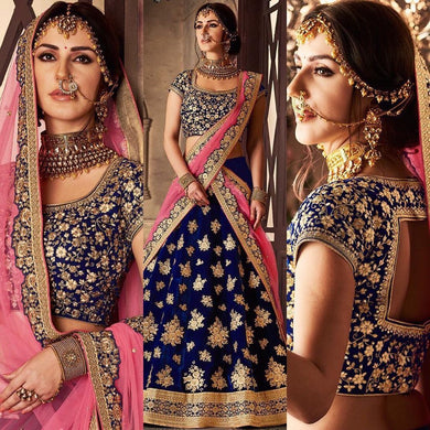 Attractive Blue Taffeta Velvet Embroidery Work Circular Lehenga Choli