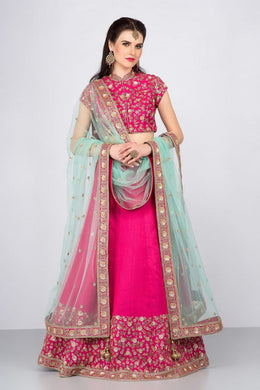 Attractive Pink Taffeta Silk Embroidery Work Circular Lehenga Choli