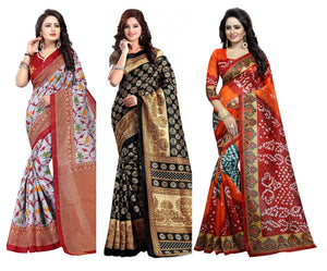 835bcfcb92c72e Multicolour Bhagalpuri Cotton Silk Saree With Blouse Pack Of-3 Saree
