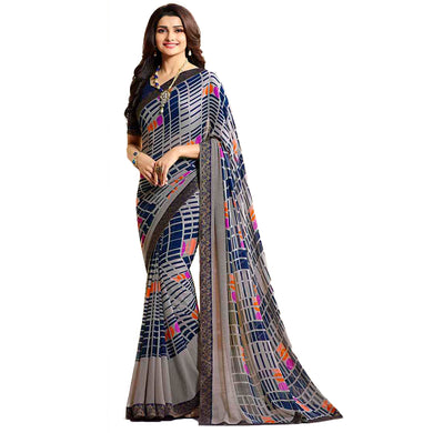 Exclusive Multicolor Color Georgette Printed Saree With Blouse