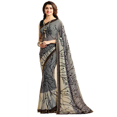 Latest Black Color Georgette Printed Saree With Blouse
