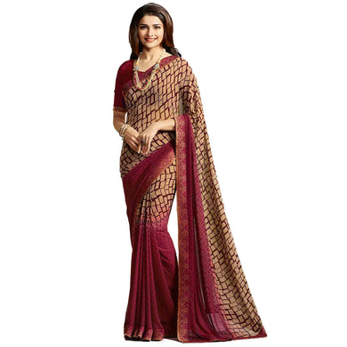 Fabulous Maroon Color Georgette Printed Saree With Blouse