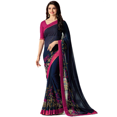 Awesome Blue And Pink Color Georgette Printed Saree With Blouse
