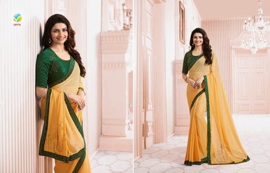Fabulous Yellow Color Diamond Work Saree With Work Blouse