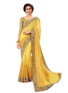 Stylish Yellow Color Georgette Mirror Work Saree With Work Blouse