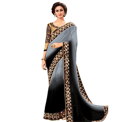 Latest Black And Grey Color Georgette Mirror Work Saree With Blouse