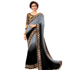 a5f34e67579494 Latest Black And Grey Color Georgette Mirror Work Saree With Blouse