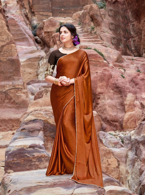 Exclusive Brown Color Japan Satin Pearl Border Saree With Blouse