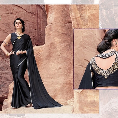 Exclusive Black Color Japan Satin Pearl Border Saree With Blouse