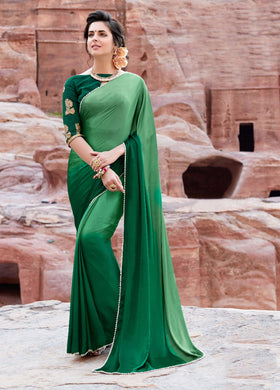 Fabulous Green Color Pearl Border Japan Satin Saree With Embroidery Blouse
