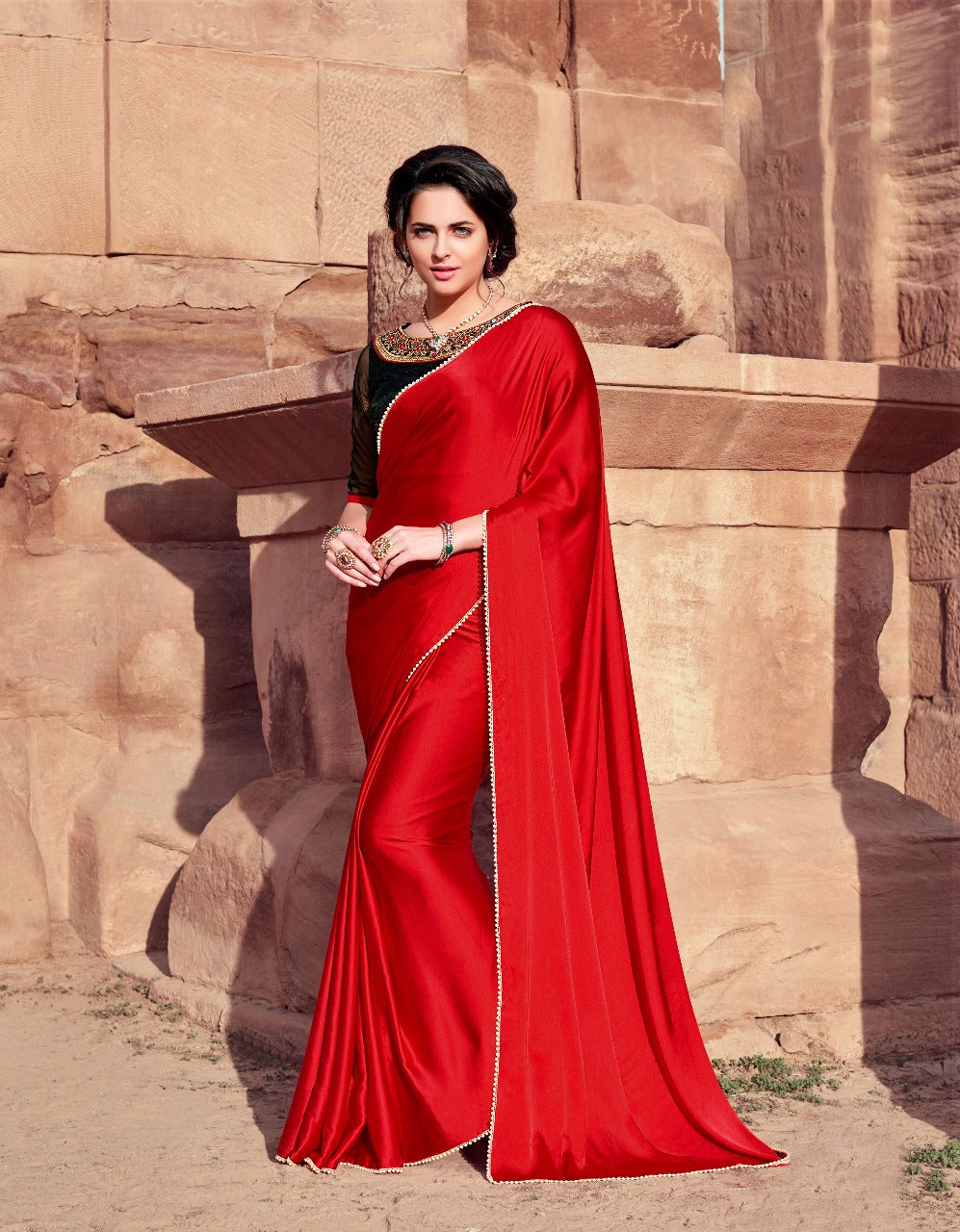 9b725852ab ... Red Hot Designer Japan Satin Pearl Border Saree With Embroidery Blouse