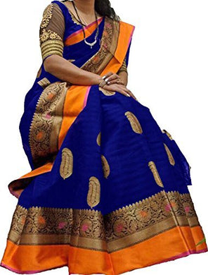 Navy Blue Color Art Silk Bhagalpuri Printed Saree With Blouse