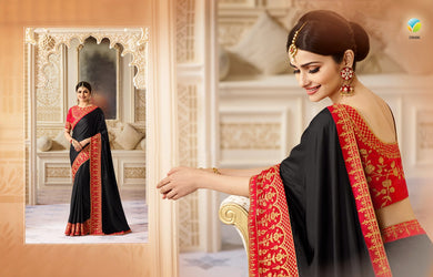 Designer Black Color Chinnon Silk Embroidery Saree With Woek Blouse