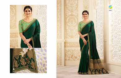 Latest Green Color Chinnon Embroidery Saree With Work Blouse