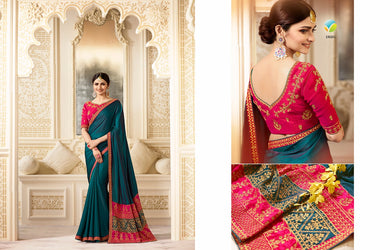 Fabulous Teal And Pink Color Chinnon Embroidery Saree With Work Blouse