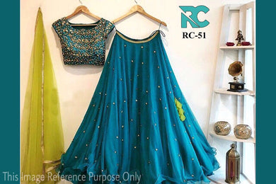 Stylish Designer Skyblue Georgette With Embroidery Lehenga Choli