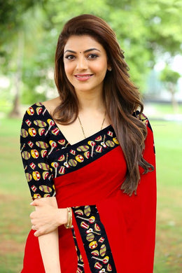 Kajal Aggarwal Bollywood Red Color Saree With Blouse