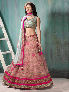 Awesome Pink And Skyblue Color Georgette Work Lehenga With Dupatta