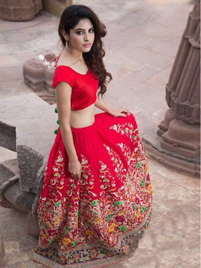 Attractive Red Color Multi Work Lehenga Choli With Dupatta