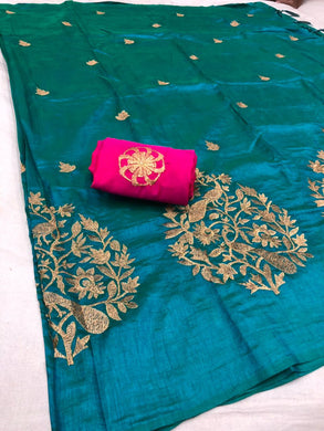 Attractive Skyblue And Pink Color Sana Silk Embroidery Saree With Blouse