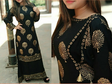 Awesome Black Color Block Printed Kurta With Skirt