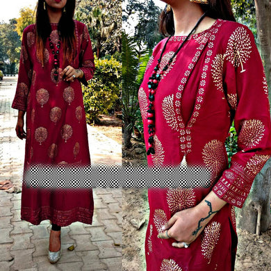 Attractive Maroon Color Block Printed Kurta With Skirt