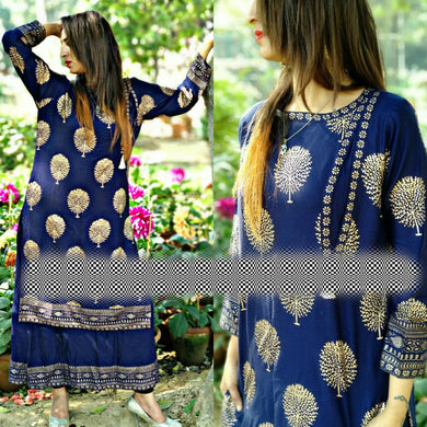 Attractive Blue Color Block Print Kurta With Skirt