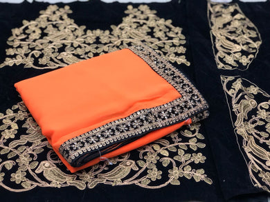 Awesome Orange Color Georgette Sequence Border Saree With Blouse