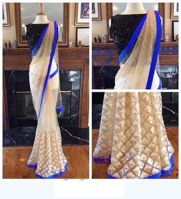 Attractive Multicolor Naylon Mono Net Saree With Sequence Blouse