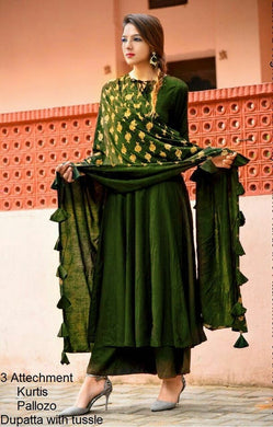 Awesome Olive Color Pure Heavy Rayon Suit With Dupatta